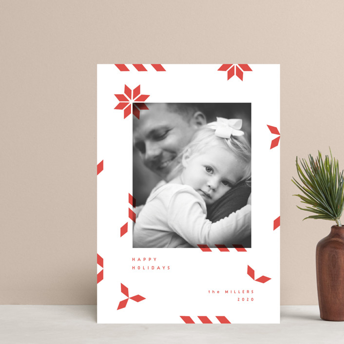 """""""geometric mail"""" - Modern Holiday Postcards in Poinsetta by Sumak Studio."""