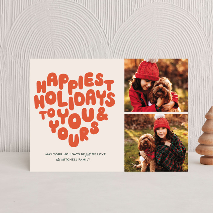 """""""HOLIDAY HEART"""" - Modern Holiday Postcards in Tangerine by The Social Type."""