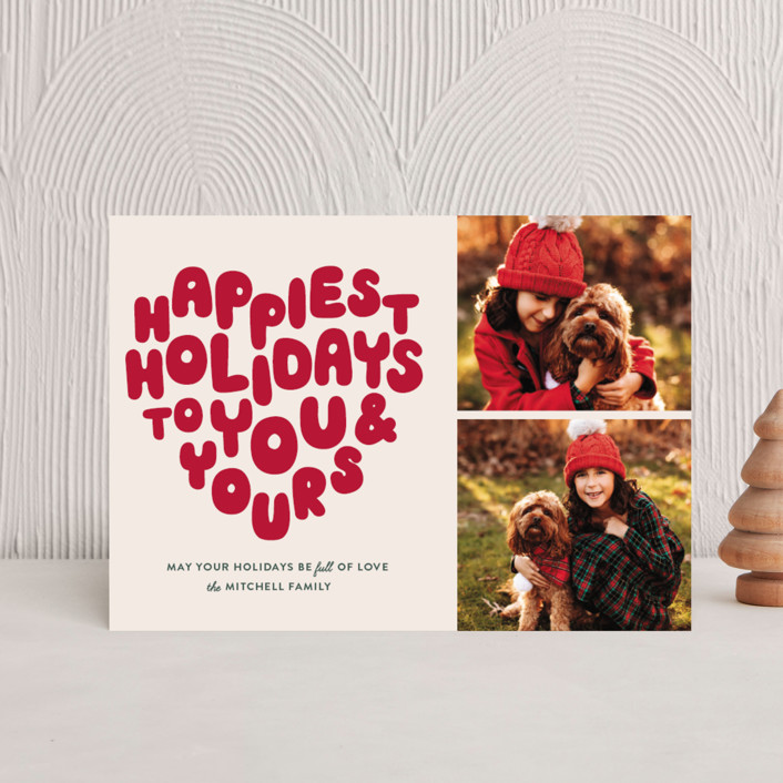 """""""HOLIDAY HEART"""" - Vintage Holiday Postcards in Candy Cane by The Social Type."""