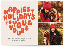 This is a orange christmas postcard by The Social Type called HOLIDAY HEART with standard printing on signature in postcard.