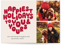 This is a red christmas postcard by The Social Type called HOLIDAY HEART with standard printing on signature in postcard.