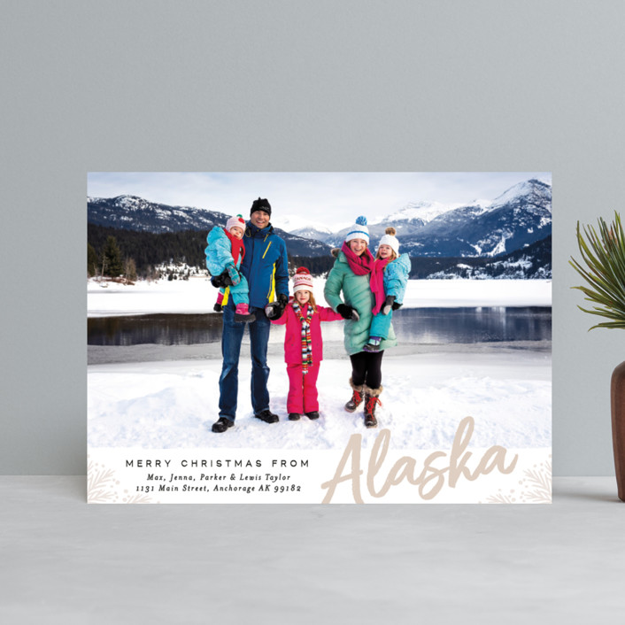 """""""Merry Christmas From"""" - Holiday Postcards in Pumpkin by Alethea and Ruth."""