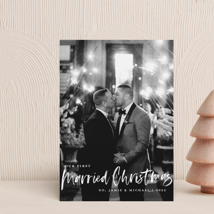 """Our First Married Christmas"" - Holiday Postcards in Snow by Kerry Doyle - Paper Dahlia."