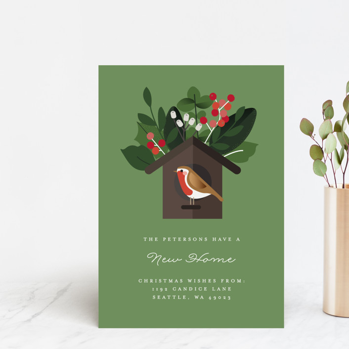 """""""The Bird House"""" - Holiday Postcards in Pear Tree by Bonjour Berry."""