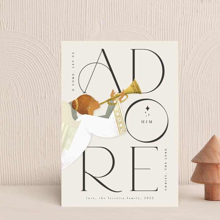 """Adore Him"" - Bohemian Holiday Postcards in Snow by Ana de Sousa."