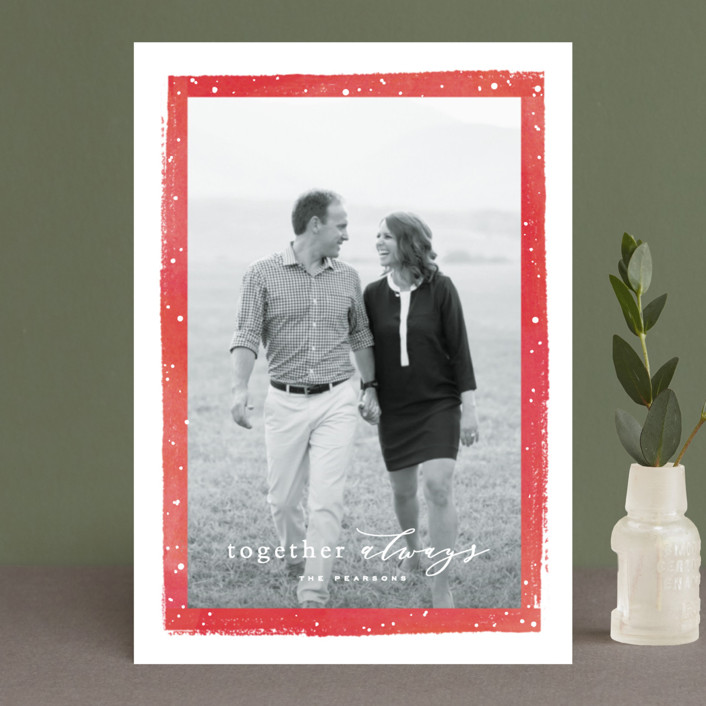"""""""Together Always"""" - Holiday Postcards in Berry by Hooray Creative."""