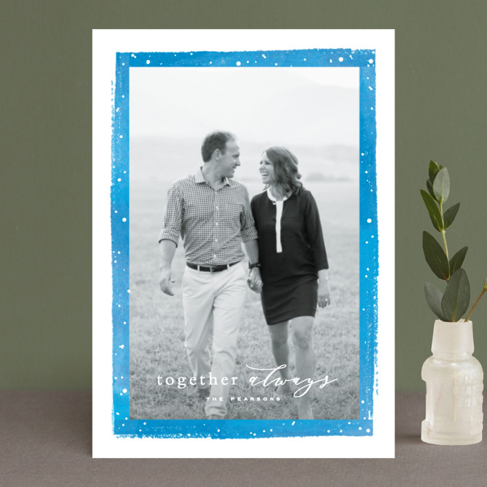 """Together Always"" - Holiday Postcards in Cobalt by Hooray Creative."