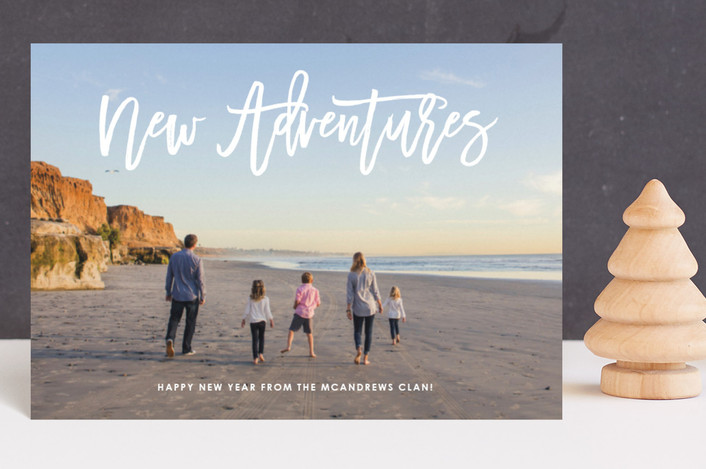 """New Year, New Adventures"" - Holiday Postcards in Cloud by Fig and Cotton."