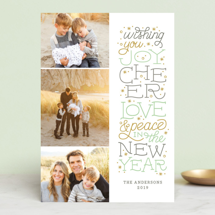 """""""Joyful Lettering"""" - Holiday Postcards in Mint by Sarah Guse Brown."""
