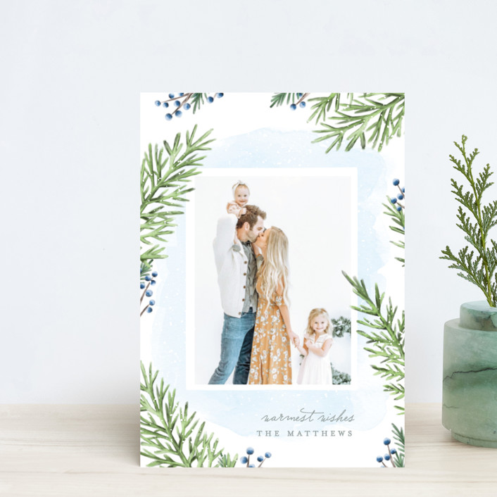 """""""Painterly Pine"""" - Holiday Postcards in Blueberry by Hooray Creative."""