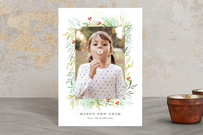 """""""Among the Leaves So Green"""" - Flora & Fauna Holiday Postcards in Leaf by Olivia Kanaley."""