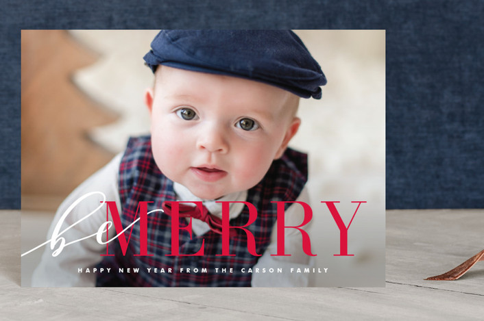 """""""Wrapped Merry"""" - Holiday Postcards in Berry by Kristie Kern."""