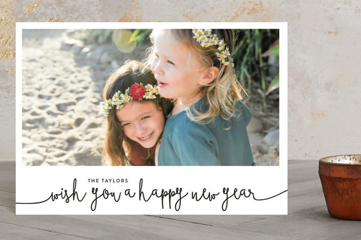 """We Wish You A Happy New Year"" - Holiday Postcards in Midnight by Christine Taylor."