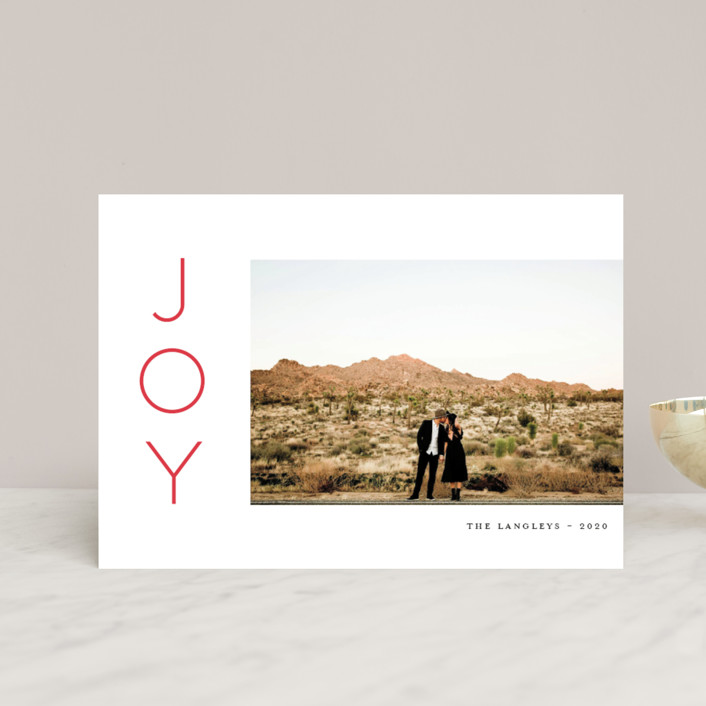 """""""Festive Joys"""" - Holiday Postcards in Candy Cane by Little Print Design."""