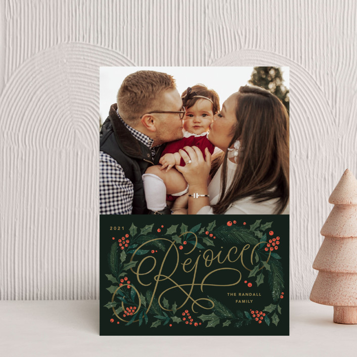 """""""Rejoice Pines"""" - Holiday Postcards in Peach by Kristen Smith."""