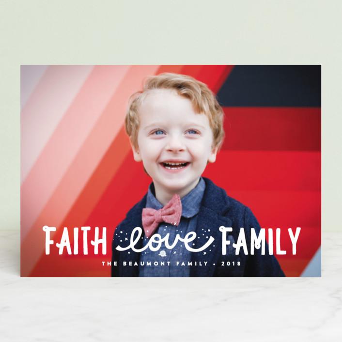 """Faith, Love, Family"" - Holiday Postcards in Snow by Erica Krystek."