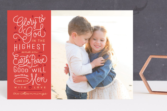 """Luke 2:14"" - Holiday Postcards in Santa's Hat by Four Wet Feet Studio."
