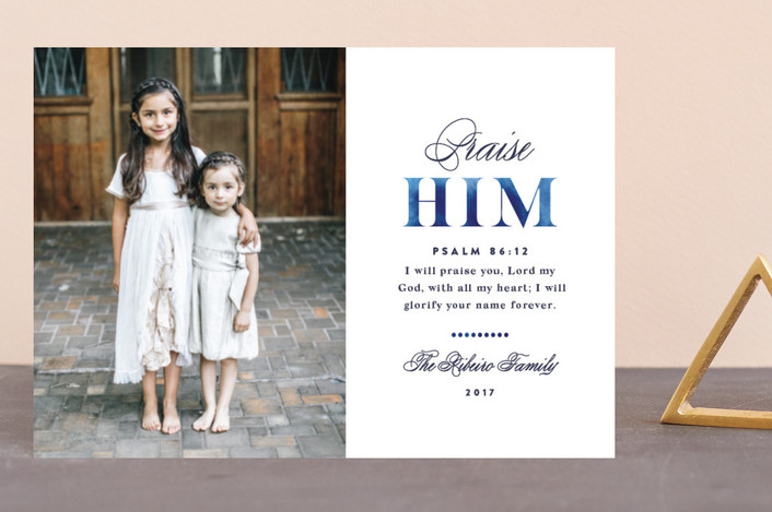 """Praise Him"" - Holiday Postcards in Indigo by Olivia Raufman."