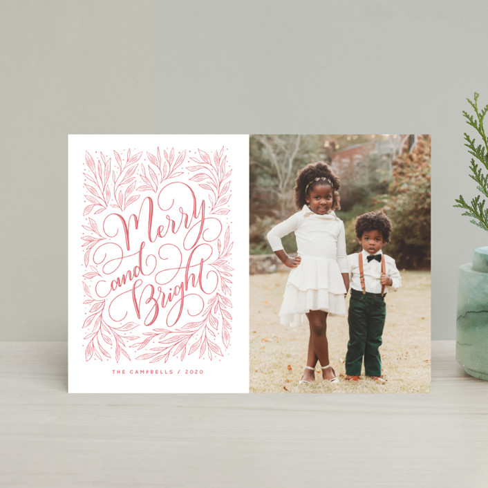 """""""Merry and Bright Hand-lettering"""" - Bohemian Holiday Postcards in Strawberry by Nicole Barreto."""