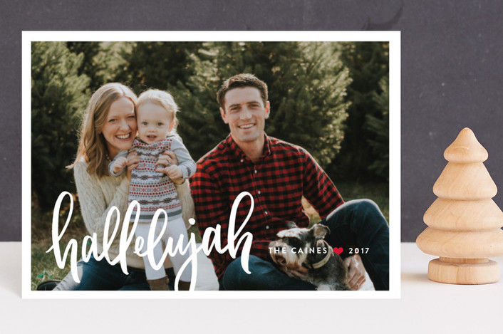 """Simply Hallelujah"" - Holiday Postcards in Poinsettia by Up Up Creative."
