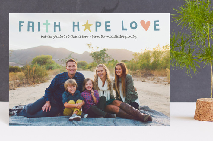 """""""faith + hope + love"""" - Holiday Postcards in Blue Spruce by Olivia Goree."""