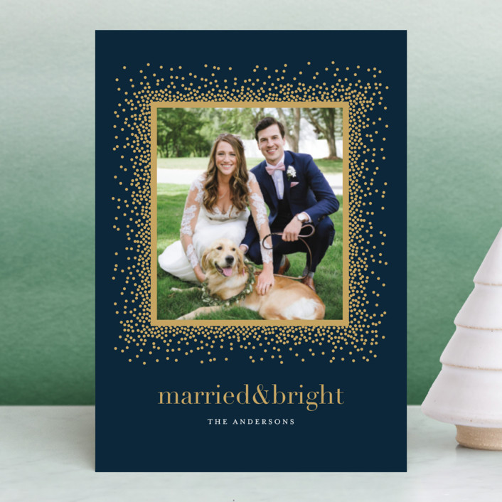 """""""Married & Bright"""" - Holiday Postcards in Midnight Blue by Jennifer Postorino."""