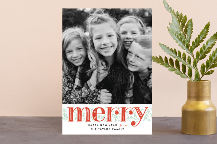"""""""Merry Pine Branches"""" - Holiday Postcards in Holly Berry by Alethea and Ruth."""