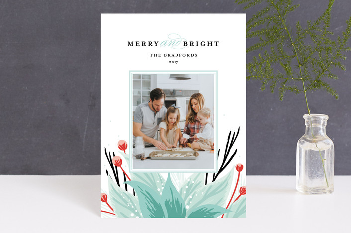 """""""Emblem"""" - Holiday Postcards in frosted leaf by Angela Marzuki."""