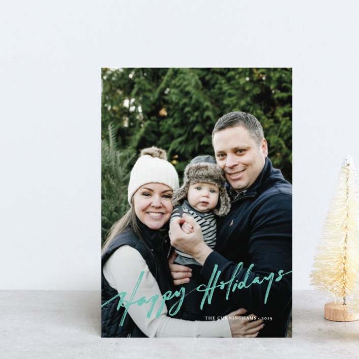 """brushed holiday"" - Holiday Postcards in Holly by Frooted Design."