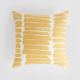 This is a yellow pillow cover by Alexandra Dzh called Ink stripes.