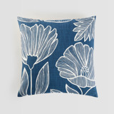 This is a blue pillow cover by Beth Schneider called Lined Florals.