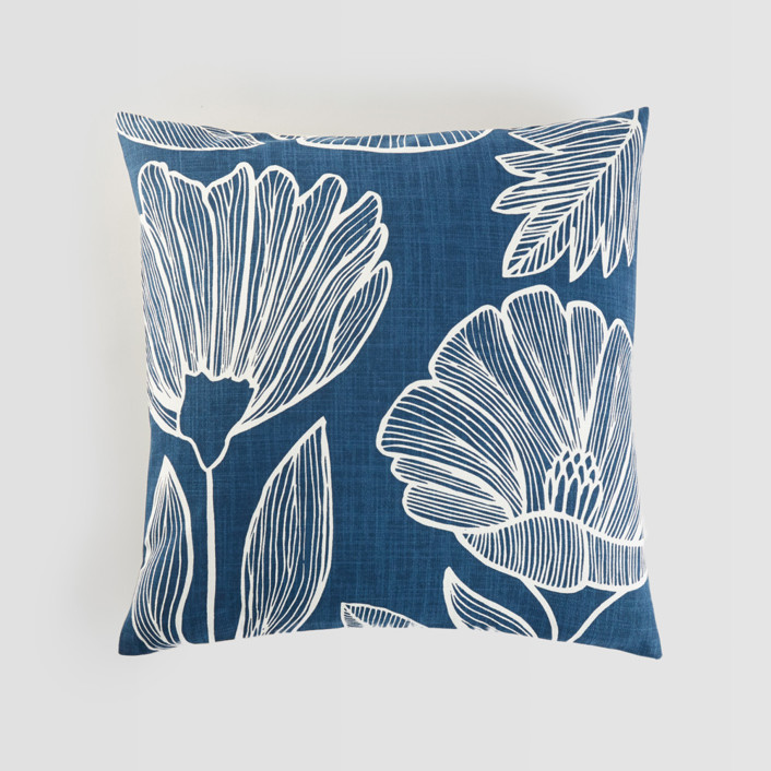 Lined Florals Pillow Cover