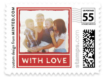 This is a red christmas stamp by Minted called Vintage Red with standard printing on adhesive postage paper in stamp.