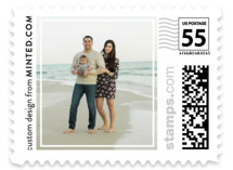 This is a white christmas stamp by Minted called Frame with standard printing on adhesive postage paper in stamp.