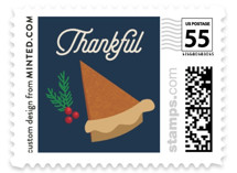 This is a blue christmas stamp by Holly Whitcomb called Pie Chart with standard printing on adhesive postage paper in stamp.