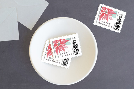 Painted Poinsettias Holiday Stamps