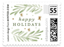 This is a green christmas stamp by Gina Grittner called Noel Ornaments with standard printing on adhesive postage paper in stamp.