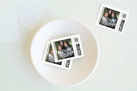 Retro Script Holiday Stamps