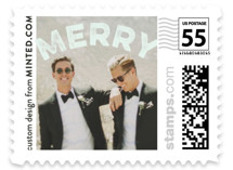 This is a blue christmas stamp by Minted called Curved Merry with standard printing on adhesive postage paper in stamp.