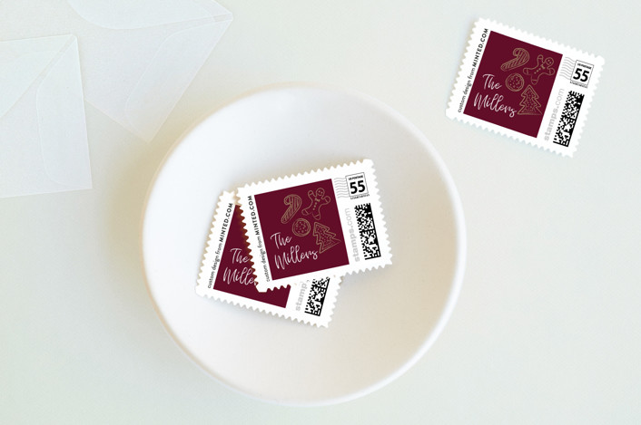 """Holiday Cookie Party"" - Holiday Stamps in Dark Cherry by Bethany McDonald."