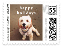 This is a white christmas stamp by Minted called Happy Holidays with standard printing on adhesive postage paper in stamp.
