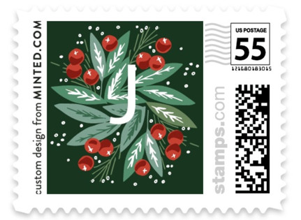 Snow Globe Pine Branches Holiday Stamps