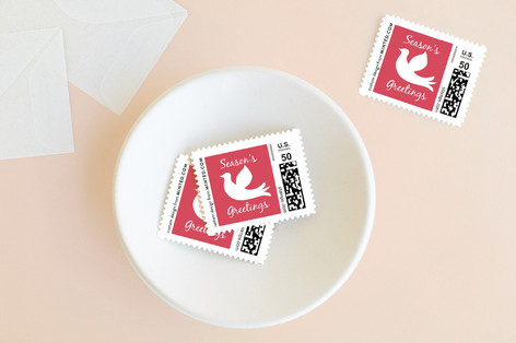 Dove in Snow Holiday Stamps