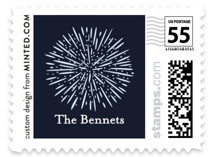 This is a blue christmas stamp by Annie Shapiro called Cheerful New Year with standard printing on adhesive postage paper in stamp.