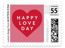 This is a red christmas stamp by Jennifer Lew called Hearts Framed with standard printing on adhesive postage paper in stamp.