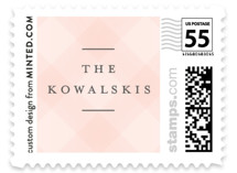 This is a pink christmas stamp by Jennifer Lew called Full Hearts with standard printing on adhesive postage paper in stamp.