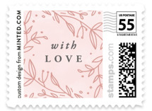 This is a pink christmas stamp by Anastasia Makarova called big floral xoxo with standard printing on adhesive postage paper in stamp.