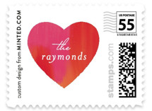 This is a red christmas stamp by Mansi called Painted Heart with standard printing on adhesive postage paper in stamp.