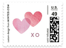 This is a pink christmas stamp by Hooray Creative called Painted Hearts with standard printing on adhesive postage paper in stamp.