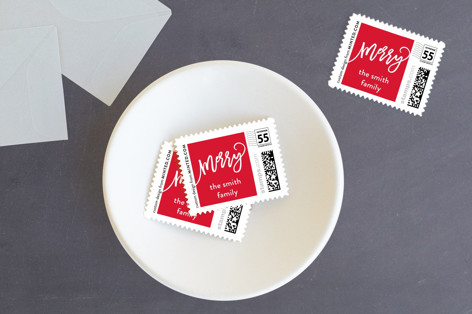 merry christmas swirls Holiday Stamps